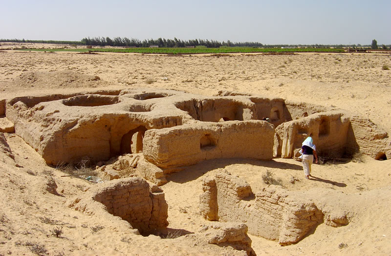 Photo of previously excavated monastic cells at Pherme (2005)
