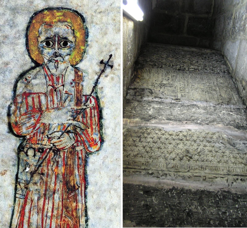 Figure 1 (left). Image of St. Shenoute adapted from a Paris Manuscript. Figure 2 (right). Reused Pharaonic blocks in the western staircase of the Church.