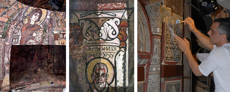 Figure 4 (left). Virgin Mary nursing Christ, north semidome, during conservation, 2003. Figure 5 (middle). Archbishop Dioskoros, south semidome, during conservation, November 2006. Figure 6 (right). De Cesaris at work, April 2007.