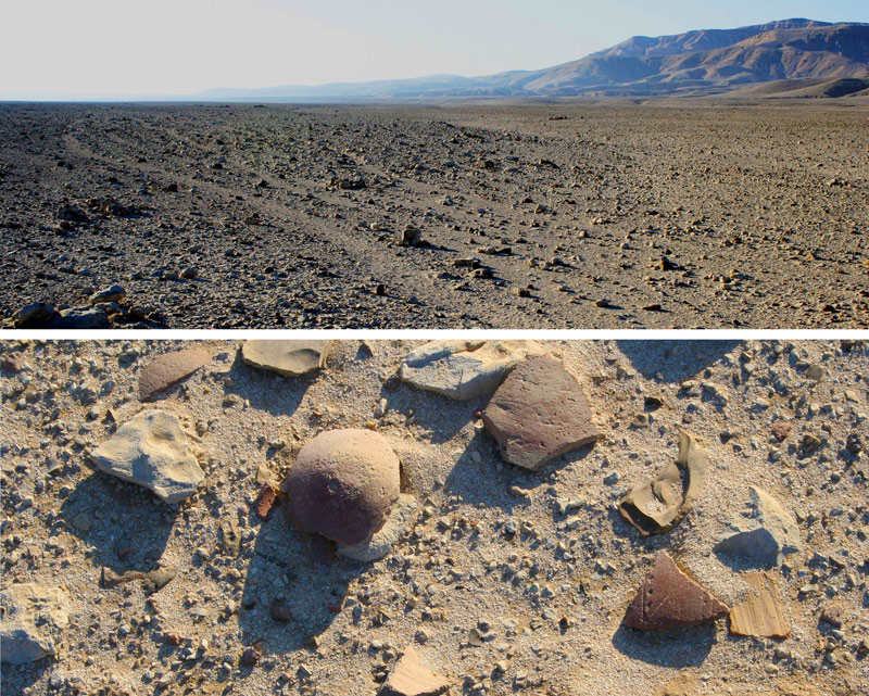 "Top image, view looking south along the meandering tracks of the Alamat Tal Road (top) with the cliffs of the Theban desert to the right. Bottom image, looking down at the Alamat Tal tracks, a nice illustration of the ancient Egyptian phrase ""gravel of the desert and broken pots in the road."""