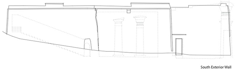 Figure 3 Elevation of the exterior south wall of Ghueita Temple, showing the angled seam between the hypostyle hall and the transverse hall.