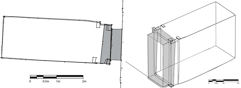 Figure 3 (left) Preliminary overhead plan of the central rear sanctuary of Ghueita Temple. The shaded portion represents a later addition, possibly of Darius I. Figure 4 (right) Isometric projection of the central sanctuary of Ghueita Temple. Shaded portion represents later addition to the original structure.