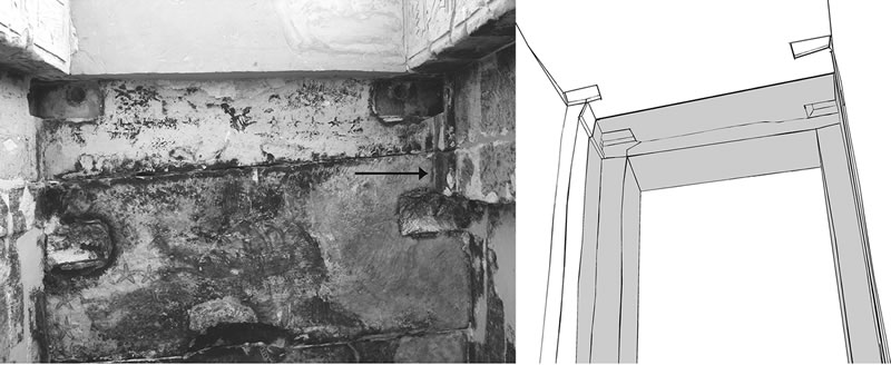 Figure 5 (left) East portion of the ceiling of the central sanctuary of Ghueita Temple. Arrow indicates remaining portion of the original lintel. Figure 6 (right) View of the two sets of door sockets in the ceiling of the central sanctuary. Shaded portion represent the later addition.