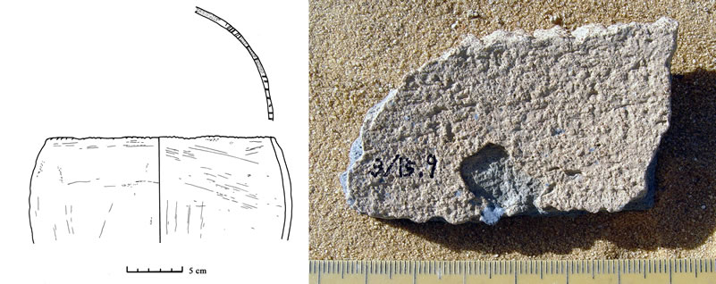"Figure 14 (A, left) Sherd of vessel with ""ticked"" rim, in Kiddabian fabric. (B) Sherd of vessel with ""toothed"" rim, Kurkur Northwest Wadi"