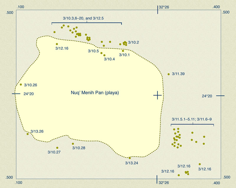 Figure 17 Preliminary plan of Nuq' Menih Pan, showing outline of the lake bed and major locations of archeological remains, based on the surveys of the Yale Toshka Desert Survey.