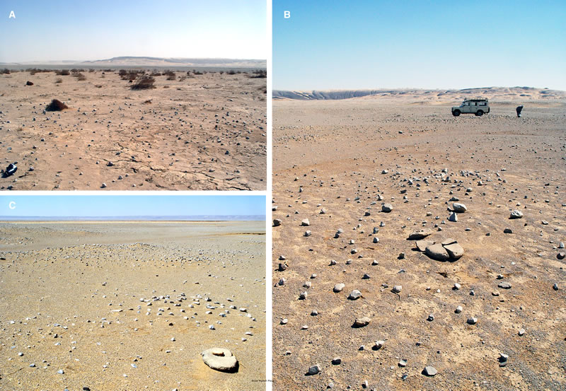 Figure 18 (A) Northeastern portion of Nuq' Maneih Playa, with Gebel Barqa in background to the east. (B) Nuq' Maneih Playa. (C) Nuq' Maneih pan seen from the northeast edge, with mortar, rubbing stone, and hearth mounds in foreground.