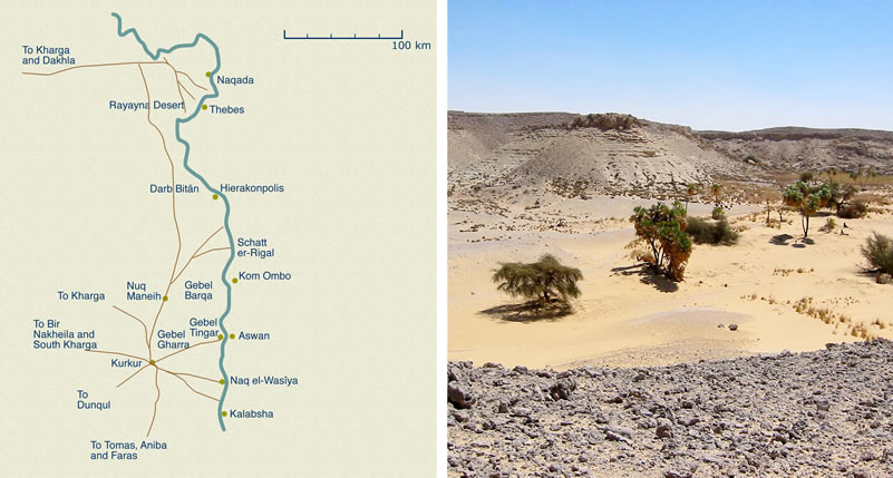 Figure 2 (left) Map of Upper Egypt and Lower Nubia, with major toponyms and routes discussed in article. Figure 3 (right) View of the Main Wadi, Kurkur Oasis.
