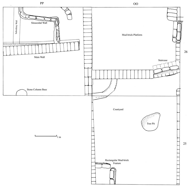 Figure 1 Preliminary overhead plan of Squares OO25/26 and PP26, showing the major architectural features excavated in the 2009-2010 season.