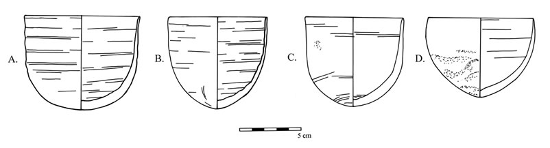 Figure 3 Cups from the North Area of Umm Mawagir. (a) I.O31.a (c) I.O41.a (d) I.O22.a