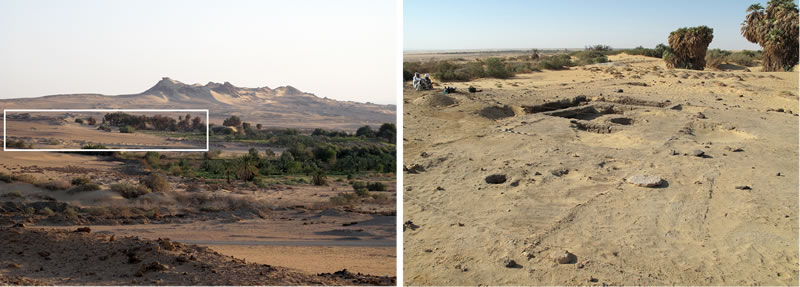 Figure 1 (left) View of Umm Mawagir from the slopes of Gebel Ghueita. The white box highlights the main area of Late Middle Kingdom through Second Intermediate Period urban remains. Right, View of the northern portion of the Umm Mawagir site, showing the bakery area during excavation. Photo credit, Theban Desert Road Survey.