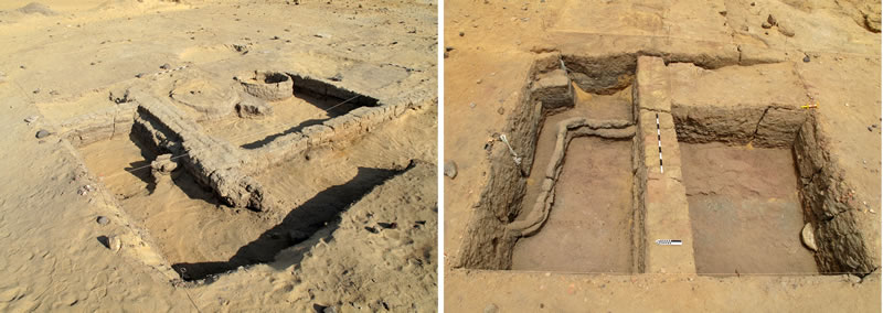 Figure 3 (left) Bakery structure in the northern part of Umm Mawagir. Photo credit, Theban Desert Road Survey. Right, One excavated portion (4m x 4m square) of the central part of Umm Mawagir, showing a narrow sinusoidal wall (left) crossed by a main east-west wall (center) preserved to nearly a meter in height. Photo credit, Theban Desert Road Survey.