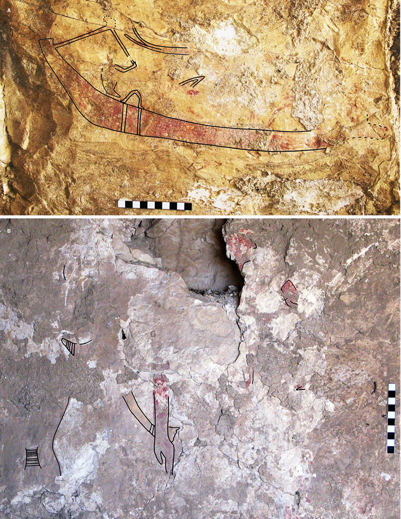 Figure 1 Preliminary copies of decoration on the south (a) and east (b) walls of M08-09/T1