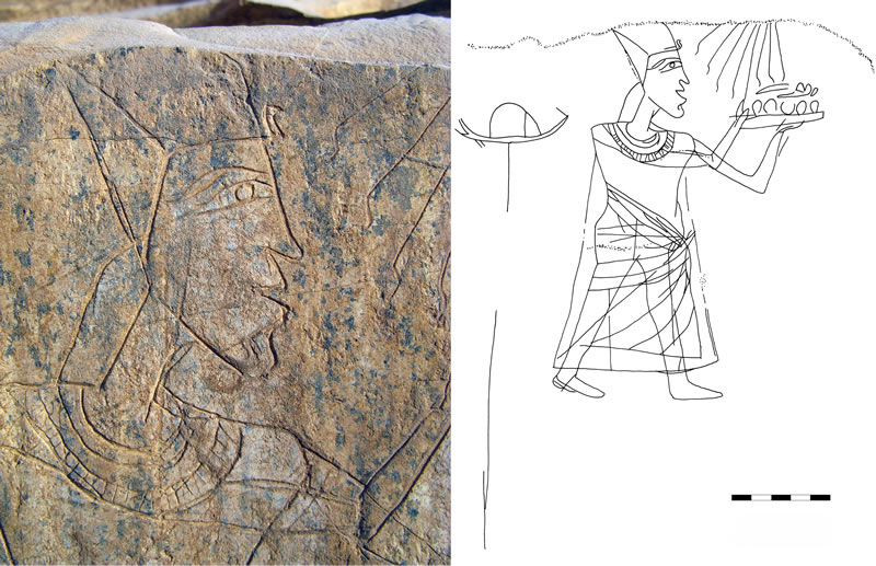 Figure 2 (photo left) The Head of Akhenaton (detail of the scene in Figure 3). Figure 3 Akhenaton elevates offerings to the Aton, in an image from the lower portion of the Gebel Akhenaton site.