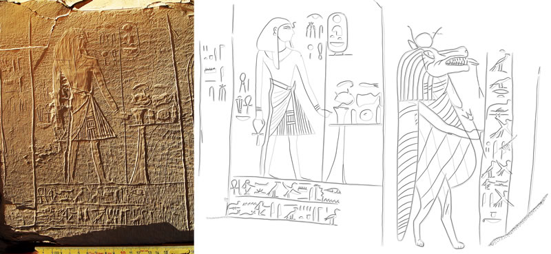 Figure 2 (photo on left) King Ahmose at Pahu's rock shrine. Figure 3 (right) King Ahmose, and the talking goddess Taweret, at Pahu's shrine.