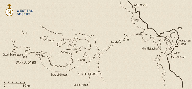 Figure 1 Map of the Qena Bend showing the northern Theban Road to the Oases of the Western Desert. Locations of Abu Ziyar and Tundaba are approximate.