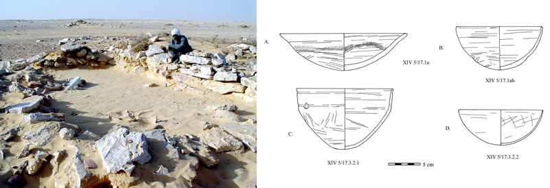 Figure 11 (left) Rectangular dry-stone structure at Abu Ziyar, after clearance. Figure 12, Ceramic material from Middle Kingdom occupation of the rectangular dry-stone structure at Abu Ziyar. C and D are made in a fine oasis fabric.
