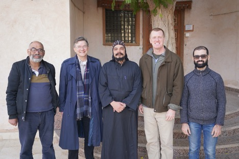Figure 3. Members of the cataloguing team in front of the library at Dayr al-Suryān (December 2018). From left to right, Youhanna Nessim Youssef, Mark Swanson, Father Amoun, Stephen J. Davis, and Ramez Mikhail.