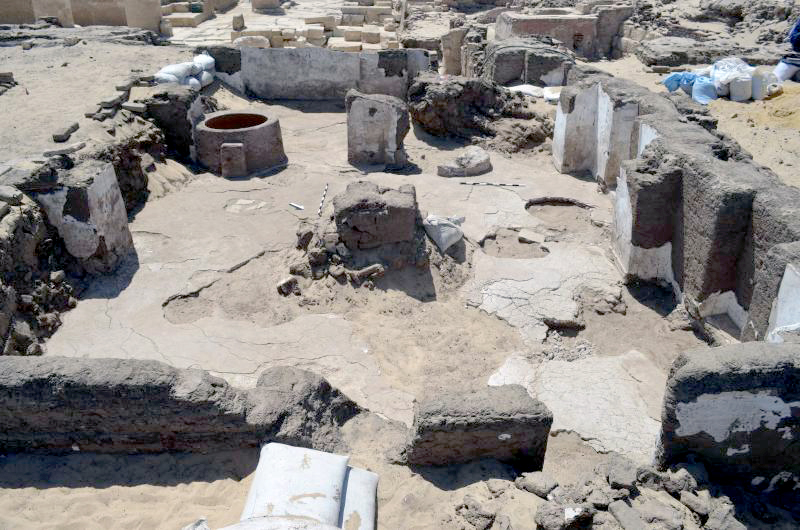 Figure 2. View of the excavated northern half of the Six-Pillared Hall, looking west.