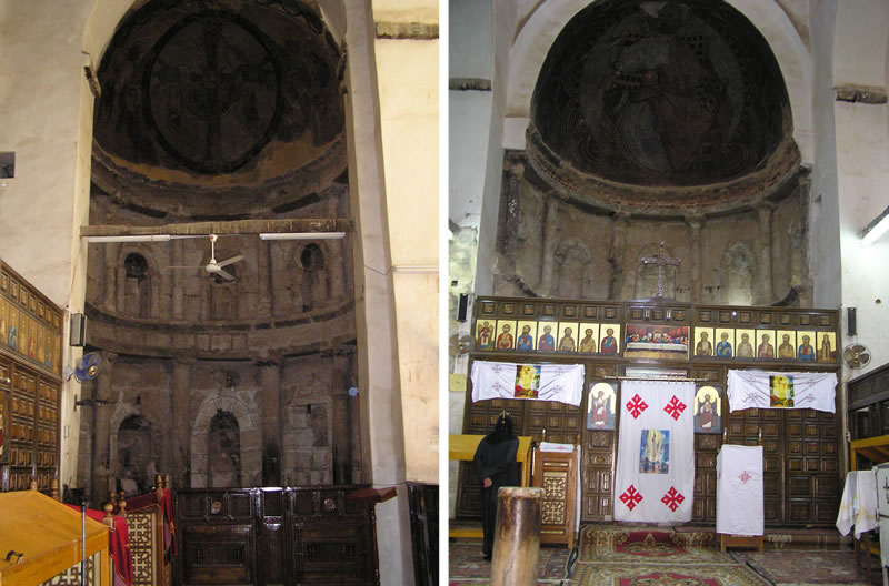 Figure 8 (left). Southern subsidiary apse. Figure 9 (right). Central apse, closed off by the modern iconostasis.
