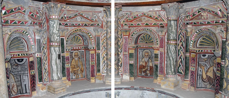 Figures 2 and 3. Niches in the middle register of the north lobe, showing St. Besa, St. Shenoute, an unknown saint, and St. Bishay.