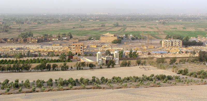 Figure 1. The site (in middle ground), with the Church of St. Shenoute at the center and the modern monastery in the foreground.