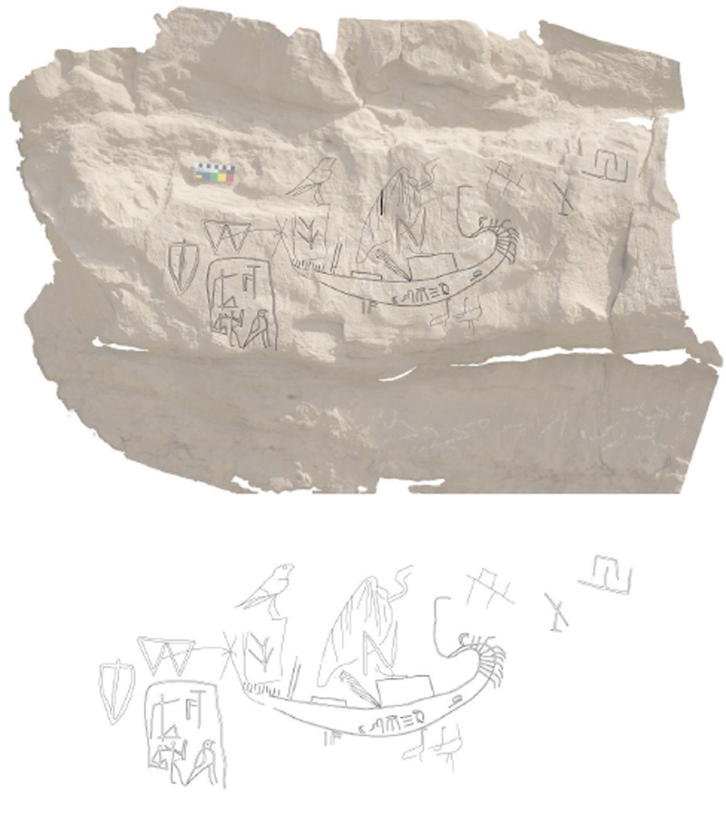 Figure 6 Orthoimage with digital drawing overlaid of Panels 6-8 (top); digital drawing without rectified image, including the inscription of Hornakht (bottom)