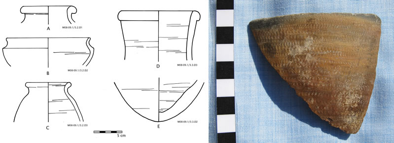 Figure 3 (left) Ceramic remains from the surface of M08-09/S1. Figure 4, Nubian sherd from the surface of M08-09/S1.