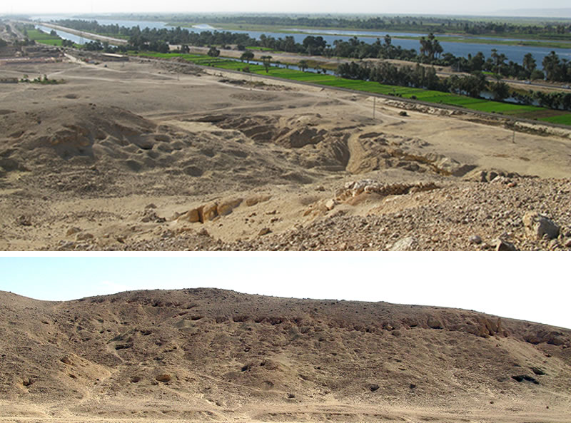 Top, view of the Mo'alla necropolis, standing in Area E, looking south across Area B and the modern quarry. Bottom, view (looking south) of Area H1, with openings of tombs visible along the upper portion of the cliffs and throughout the gebel (left).