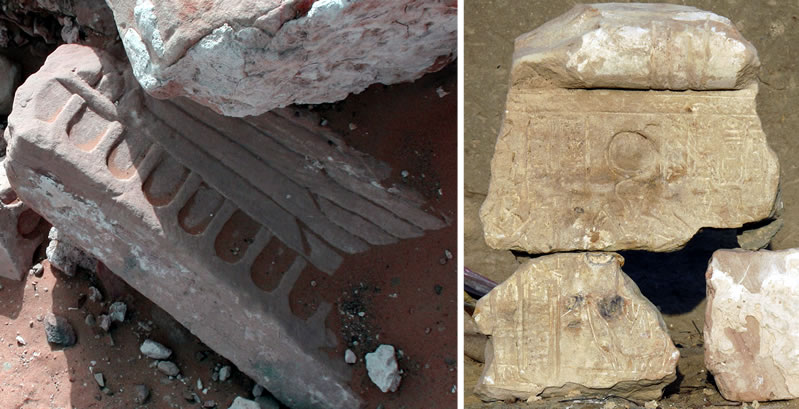 Figure 6 (left) Fragment of winged sundisk in situ (sanctuary area). Figure 7 Lintel blocks featuring Chonsu the Child and Mut.